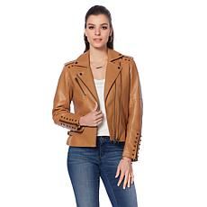 Colleen Lopez Studded Faux Leather Jacket