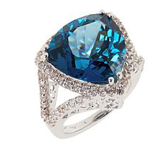 Colleen Lopez Trillion-Cut Blue Topaz and White Zircon Ring