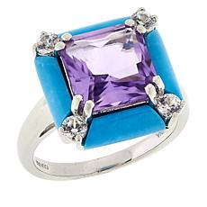 Colleen Lopez Turquoise, Amethyst and White Zircon Ring