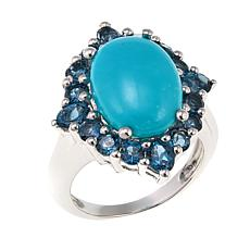 Colleen Lopez Turquoise and London Blue Topaz Sterling Silver Ring