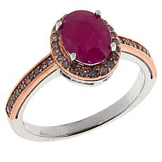 Colleen Lopez Two-Tone Sterling Silver Ruby and Pink Diamond Ring