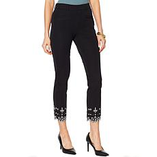 Colleen Lopez Woven Stretch Skinny Pant with Embroidery