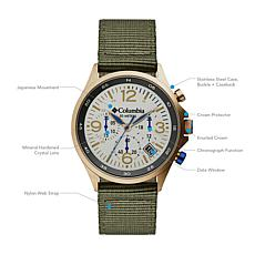 "Columbia ""Canyon Ridge"" Men's Chronograph Olive Nylon Strap Watch"