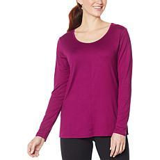 Comfort Code Long-Sleeve Stretch Jersey Scoop-Neck Top