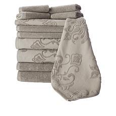 Concierge 12-Piece 100% Turkish Cotton Jacquard Mixed Towel Set