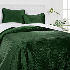 Concierge Collection Elements  3-piece Velvet Quilt Set