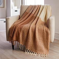 Concierge Collection Faux Mohair Color Block Throw