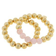 Connie Craig Carroll Jewelry Grace Gemstone 2pc Stretch Bracelet Set