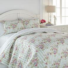 Cottage Collection Cabbage Rose 3-piece Quilt Set