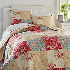 Cottage Collection Floral Patchwork Reversible 3-piece Quilt Set