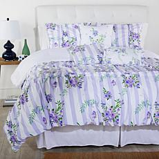 Cottage Collection Printed Ruffle 6-pc Comforter Set - Purple Stripe