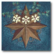 """Courtside Market Brown Star With Snowflakes 14"""" x 14"""" Wood Art"""