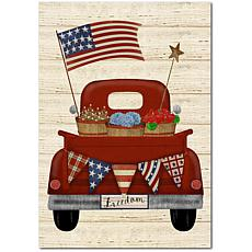 """Courtside Market Patriotic Red Truck Canvas Wall Art - 12"""" x 18"""""""