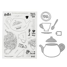 Crafter's Companion Gemini Tea Stamp and Die Set Set