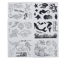 Crafter's Companion Mermaid Clear Stamps Set of 6