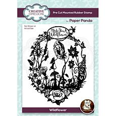 Creative Expressions Paper Panda Wildflower Pre-Cut Rubber Stamp