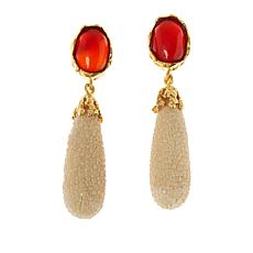 Cristina Sabatini Capri Gold-Tone Gemstone and Leather Drop Earrings