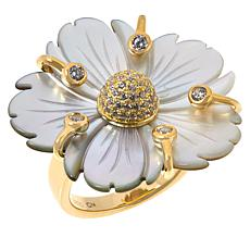 Cristina Sabatini Gold-Tone Black Mother-of-Pearl and CZ Posy Ring
