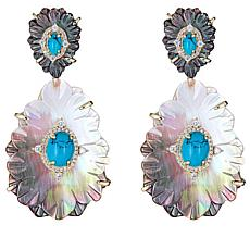 Cristina Sabatini Gold-Tone Calathea Multi-Gemstone Drop Earrings