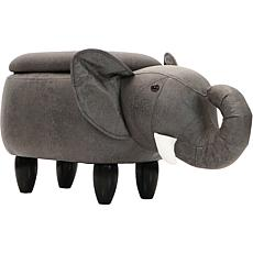 "Critter Sitters 15"" Faux Leather Animal Storage Ottoman - Elephant"