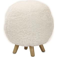 """Critter Sitters 19"""" Plush Pouf Ottoman with Spindle Legs - White"""