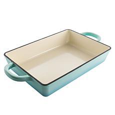 """Crock Pot Artisan 13"""" Rectangular Enameled Cast Iron Pan in Aqua Blue"""