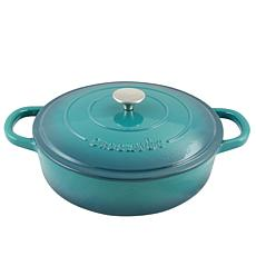 Crock Pot Zesty Flavors Enameled 5 Quart Cast Iron Round Braiser Pa...