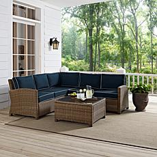 Crosley Bradenton 4pc Outdoor Wicker Sectional – Navy
