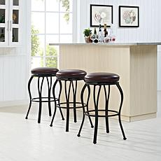 Crosley Furniture Kemper Swivel Bar Stool - Black/Brown Cushion