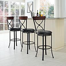 Crosley Furniture Pruitt Swivel Bar Stool - Black/Black Cushion