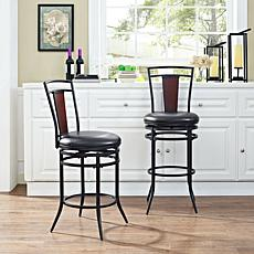 Crosley Furniture Soho Swivel Counter Stool - Black/Black Cushion