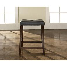 "Crosley Furniture Upholstered Saddle Seat 2pc 24"" Bar Stools -Mahogany"