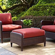 Crosley Kiawah Outdoor Wicker Ottoman - Sangria
