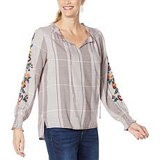 Curations Embroidered Sleeve Plaid Top