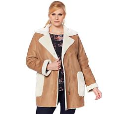 Curations Faux Suede and Faux Fur Coat