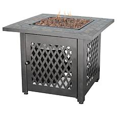 D & H Uniflame 30-inch Steel LP Fire Pit with Slate Mantel