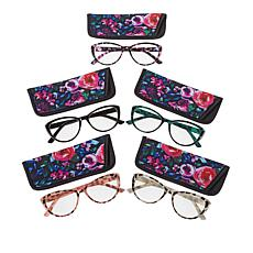 Daisy Fuentes Floral 5-pack Blue Light Cat Eye Readers
