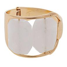 Danielle Nicole 2-Stone Wide Hinged Bangle Bracelet