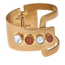 "Danielle Nicole ""Ife"" White and Peach Negative Space Cuff Bracelet"