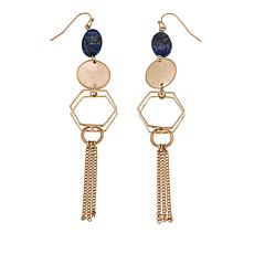 Danielle Nicole Simulated Lapis Geometric Linear Fringe Earrings