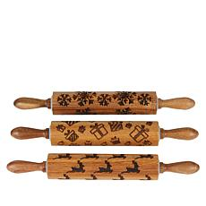 DASH Set of 3 Rolling Pins with Holiday Prints