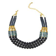 "David Aubrey Geometric Beaded 3-Row 21"" Necklace"