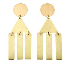 David Aubrey Goldtone Mixed Shape Triple Dangle Earrings