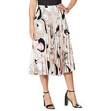 DAVID David Meister Printed Pleated Skirt