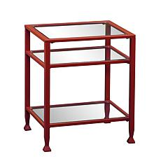 Dayton Metal/Glass End Table - Red
