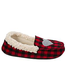 Dearfoams Girls Holiday Plaid Moccasin Slipper