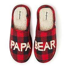 Dearfoams Men's Buffalo Check Papa Bear Clog Slipper