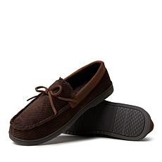 Dearfoams Men's Corduroy Moccasin with Tie
