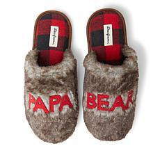 Dearfoams Men's Furry Papa Bear Scuff