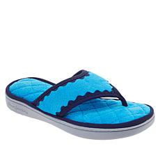 Dearfoams Micro Terry Quilted Thong Slipper